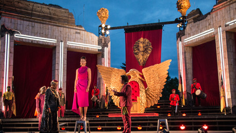"Brian McKinley, Andre De Shields, Nicole King, and Michael Tran   King Lear"" - St. Louis Shakespeare Festival"