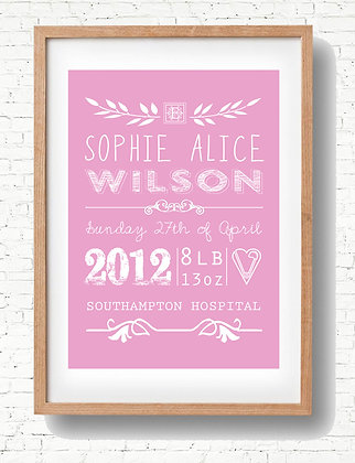 Pink Baby Modern Print - Add your own info