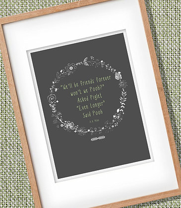 Framed Pooh Quote