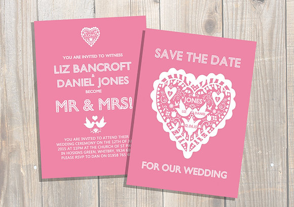 Pink Confetti Heart Invite +More Colours Available