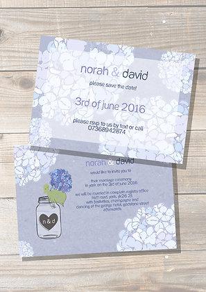Blue Hydrangeas Wedding Invite