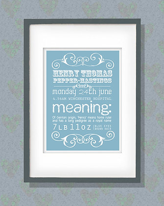 Blue Traditional Birth Print - Add your own info