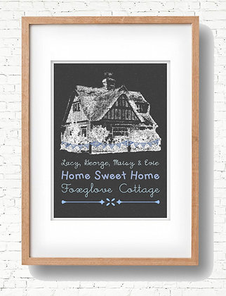 Your Family House Print - Created with your photo