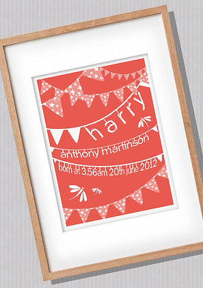 Red Bunting Birth Print - Add your own info