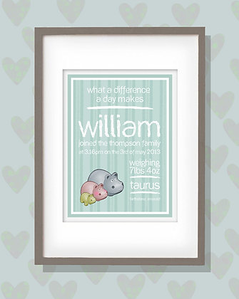Hippos Birth Print Mint - Add personalised details