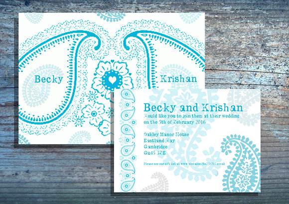 Paisley Print Invite + More Colours Available