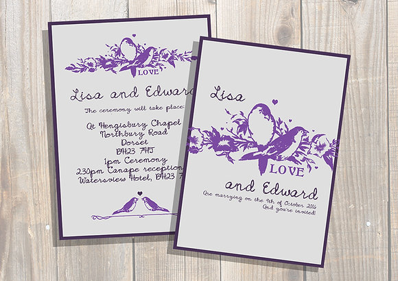 Purple Birds Invite