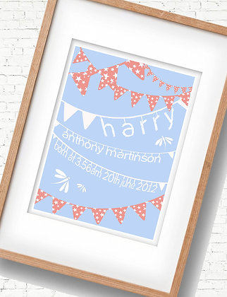 Blue & Red Birth Print - Add personalised details