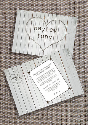 'Engraved Wood' Invite