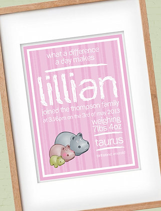 Hippos Birth Print Pink - Add personalised details