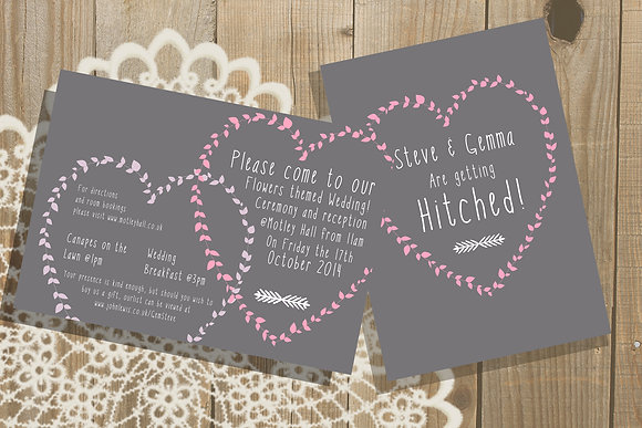 Pink Leaf Heart Invite + More Colours Available