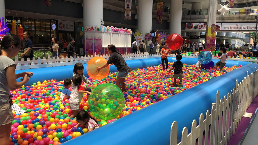The colourful balls are hard to be missed from afar.