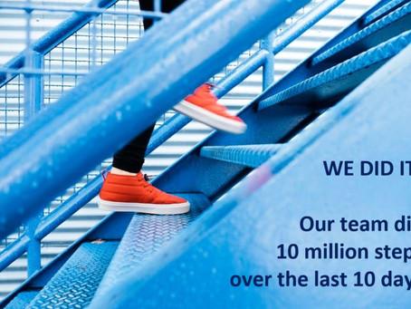 £10k Charity donation following 10 million steps challenge