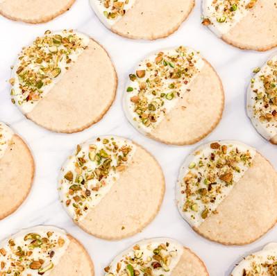 Lemon Shortbread w/ White Chocolate & Pistachios