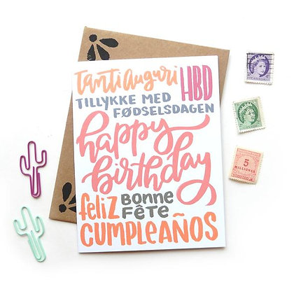 Happy Birthday Multi Language Card by Sketchy Notions