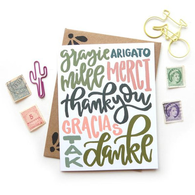 Thank You Multi Language Card by Sketchy Notions