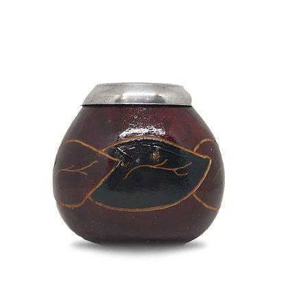 Calebasse traditionnelle décorée avec anneau pour Yerba Mate + bombilla offerte