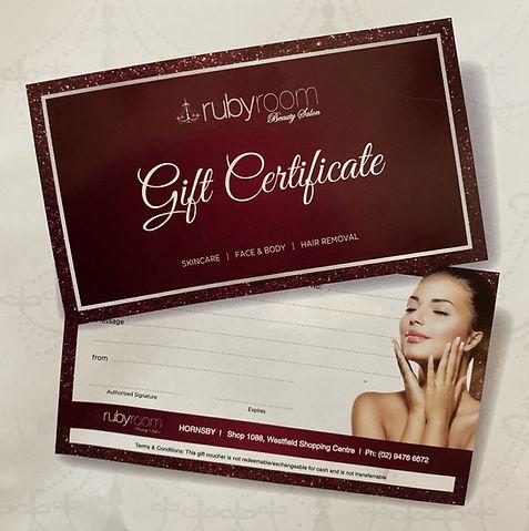 Rubyroom Beauty gift certificate