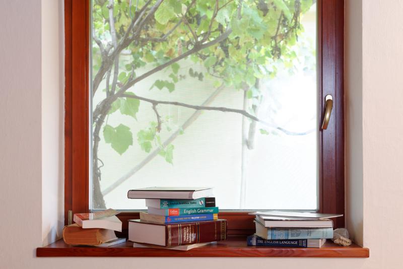 Jazyková škola. Okno do záhrady.