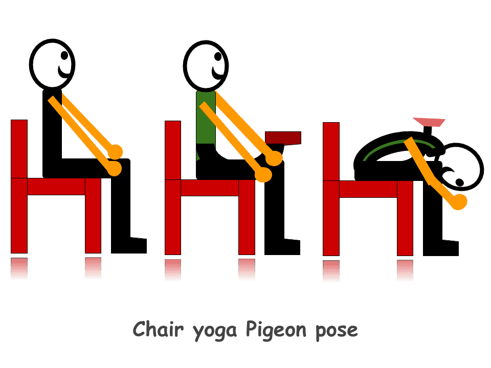 Chair yoga Pigeon pose