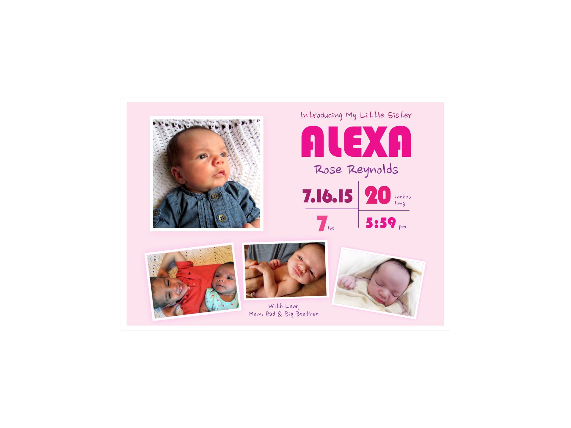 It's A Girl Announcement Card