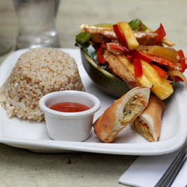 Mango Chicken with Spring Roll