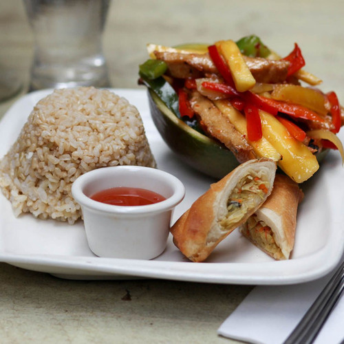 Mango Chicken with Spring Roll