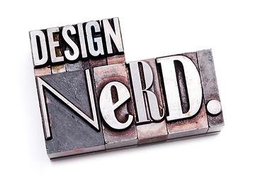 The phrase _Design Nerd_ in letterpress