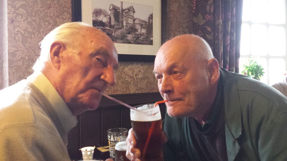 Durham and John sharing a pint