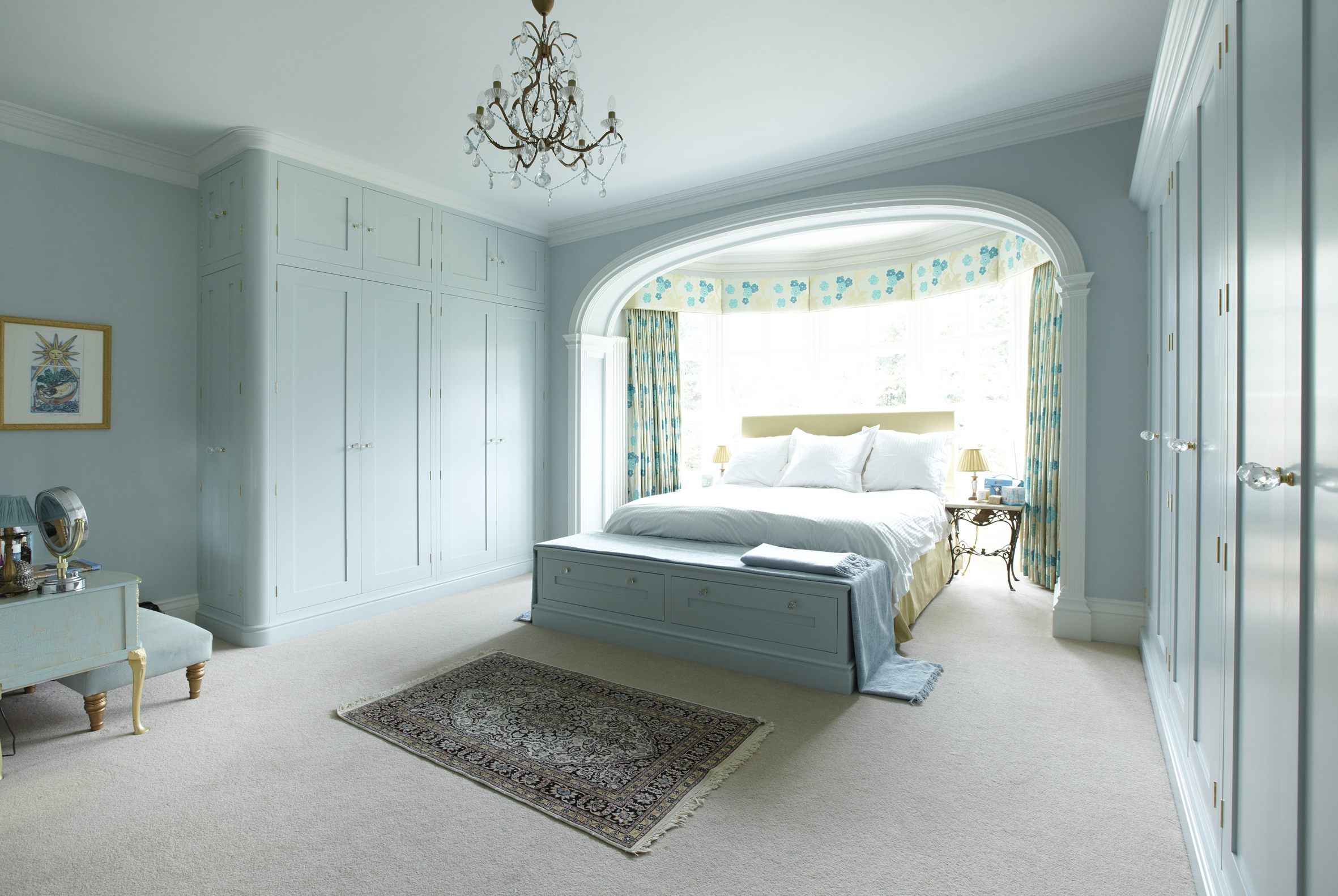 Bespoke shaker blue painted bedroom