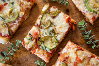 Vegetable Pizza. Homemade Pizza with oregano, tomatoes, zucchini, peppers, eggplant