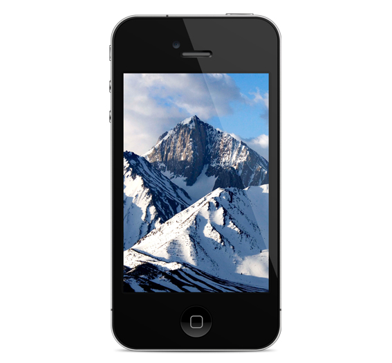 iPhone with Snowy Mountains Close Up