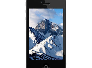 iPhone con Snowy Mountains Close Up