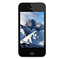 iPhone con montañas nevadas Close Up