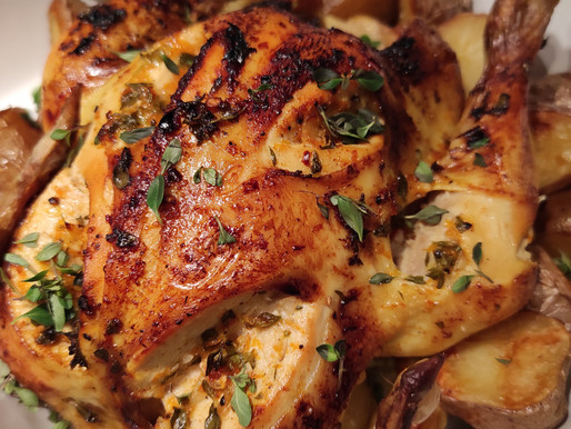 Roast chicken with thyme and citrus
