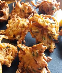 Onion bhajis.