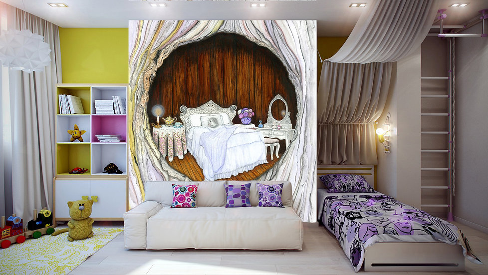 "Wall Paper for Children's Room from Original Illustration ""Sweet Dreams"""