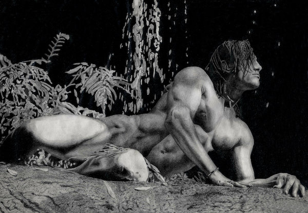 """Art Print (unframed) from Black & White Pencil Drawing """"Male Nude"""""""