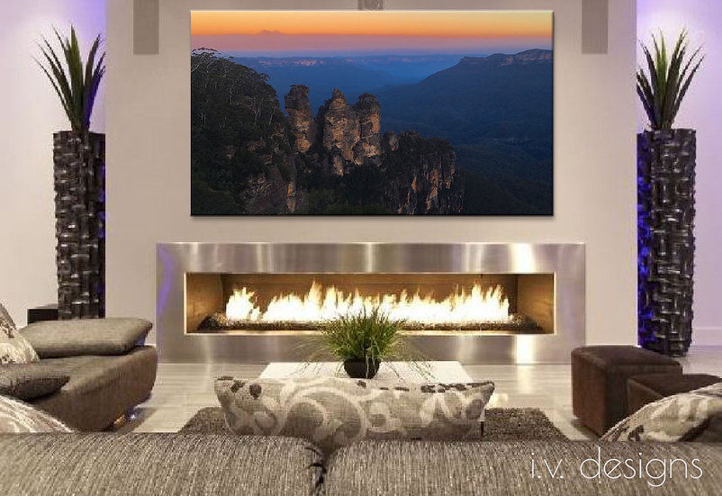 Canvas Art Print Framed and Varnished from Photograph 3 Sisters Sunset Landscape