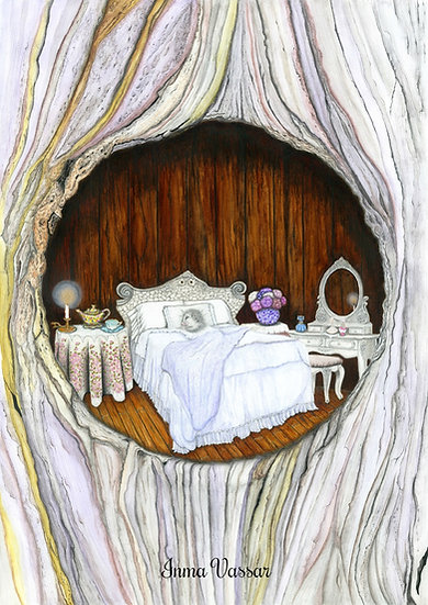 "Art Print (unframed) from Original Watercolor Illustration ""Sweet Dreams"""
