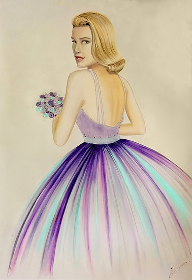 "Art Print (unframed) from original watercolor ""Grace Kelly"""