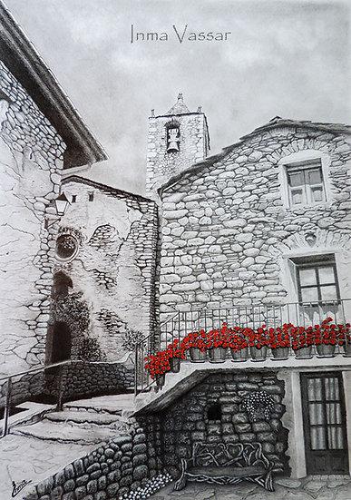 "Art Print (unframed) from original drawing ""Red Geraniums"""