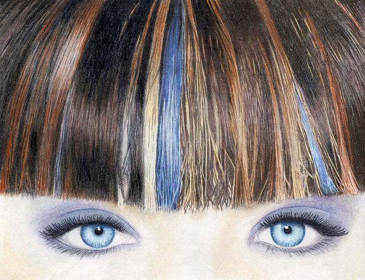 "Art Print (unframed) from Original Colour Pencil Drawing ""Blue Eyes"""