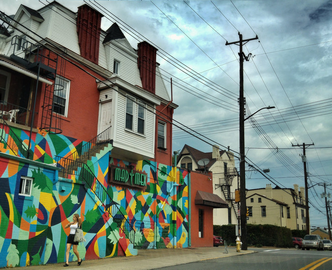 Pittsburgh, 2016. Love this mural and the way it camouflages the passer-by. Low light, long lines, and a sense of a hill. Taken with an LG G3 smartphone
