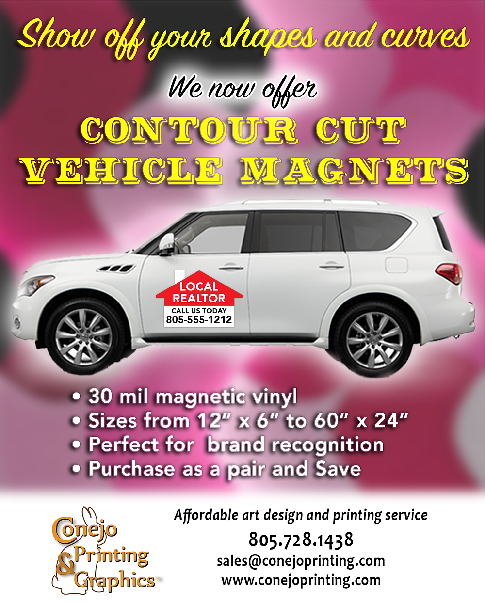 Contour shape vehicle magnets