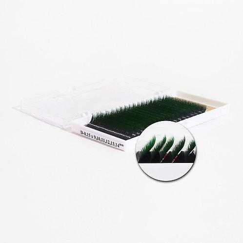 Sakura Двухцветные ресницы Geisha чёрно-зелёные-18 линий