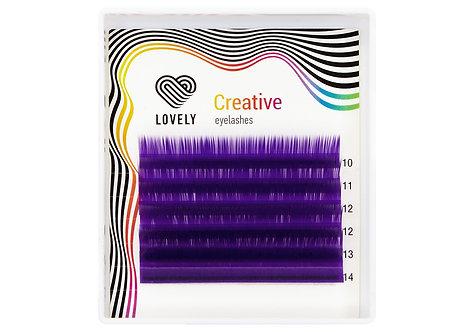 Ресницы фиолетовые (purple) Lovely MINI - 6 линий - MIX