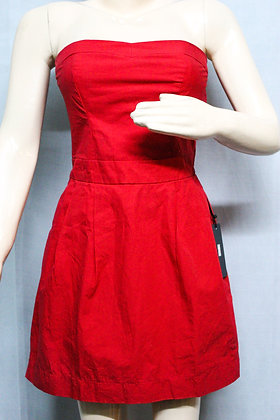 HOT RED STRAPLESS DRESS