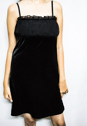 BLACK VELVET SLIP DRESS