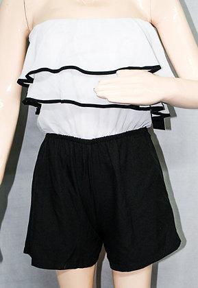 WHITE AND BLACK OFF SHOULDER DRESS